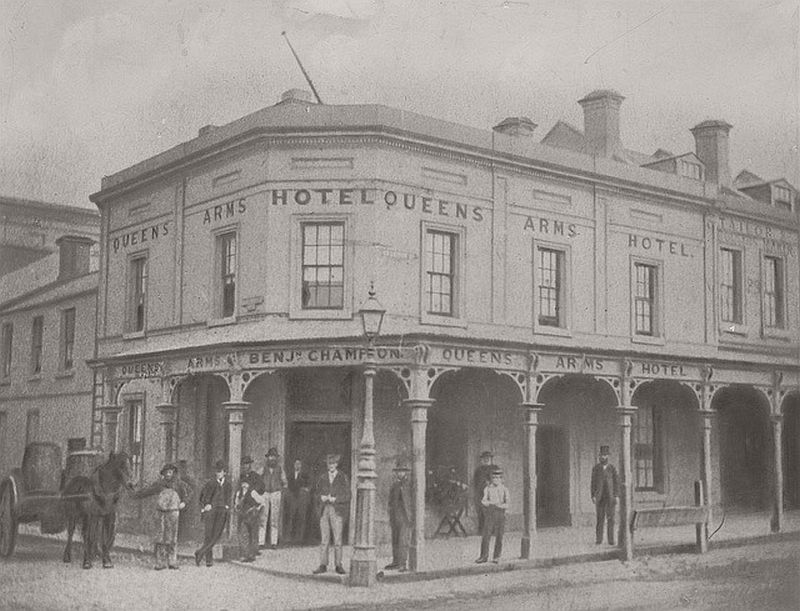 the Queens Arms Hotel, Swanston Street, Melbourne, 1880