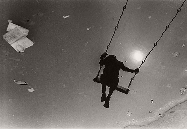 Beuford Smith, East 12th Street Park, NYC (Boy on Swing), 1968