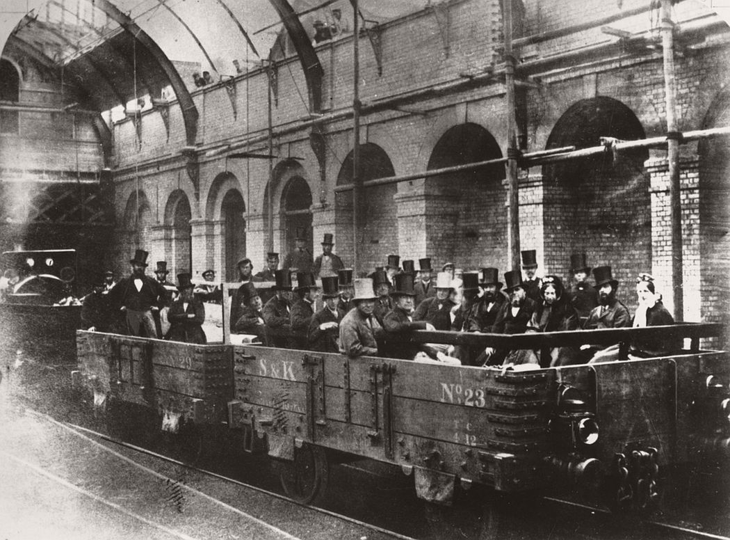 Chancellor William Ewart Gladstone on an inspection tour of the world's first underground line, 24th May 1862.
