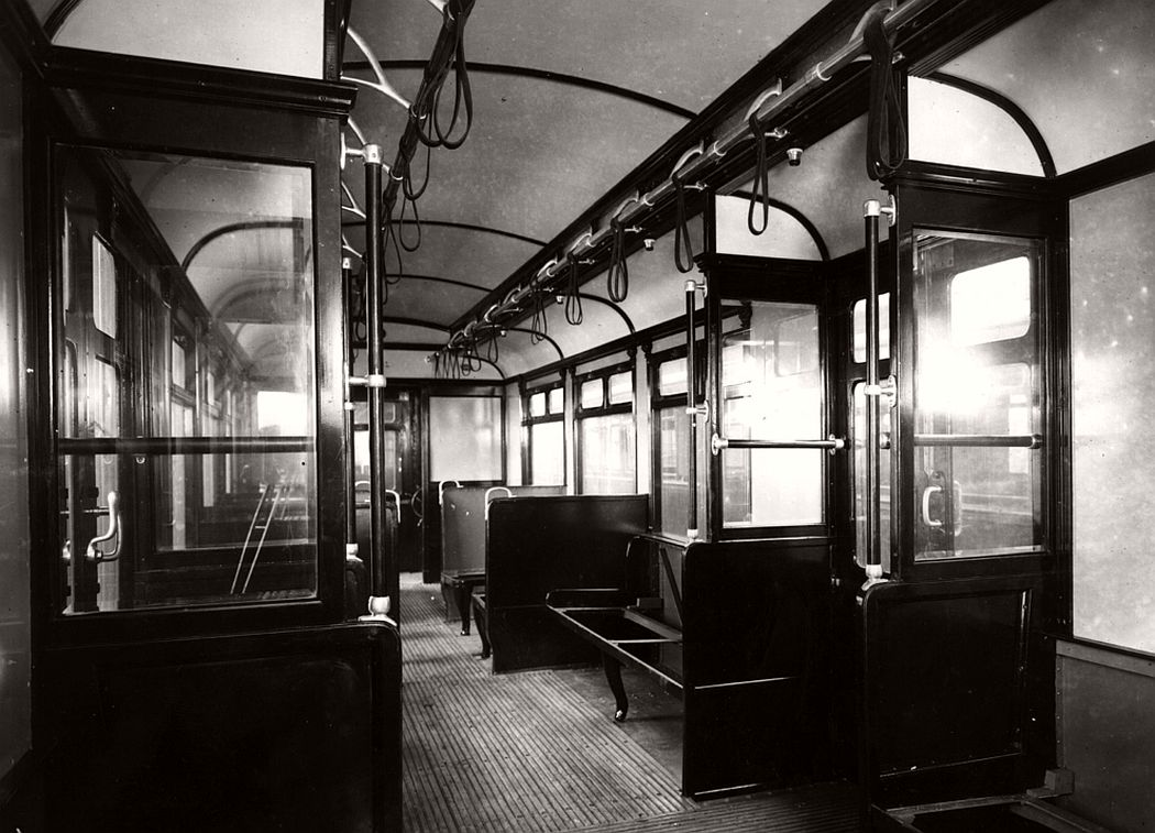 The interior of a District Line Underground carriage, 1911.