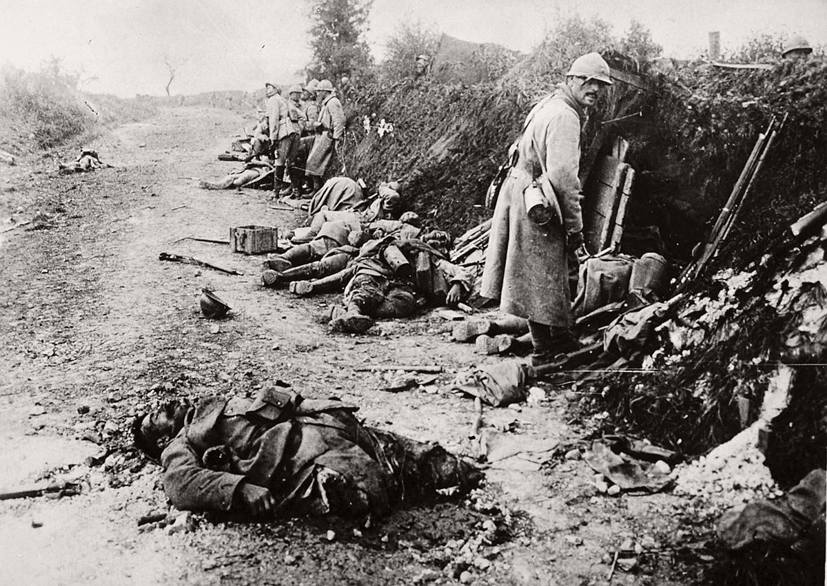 French soldiers, some wounded, some dead, after the taking of Courcelles, in the department of Oise, France, in June of 1918. # National Archives