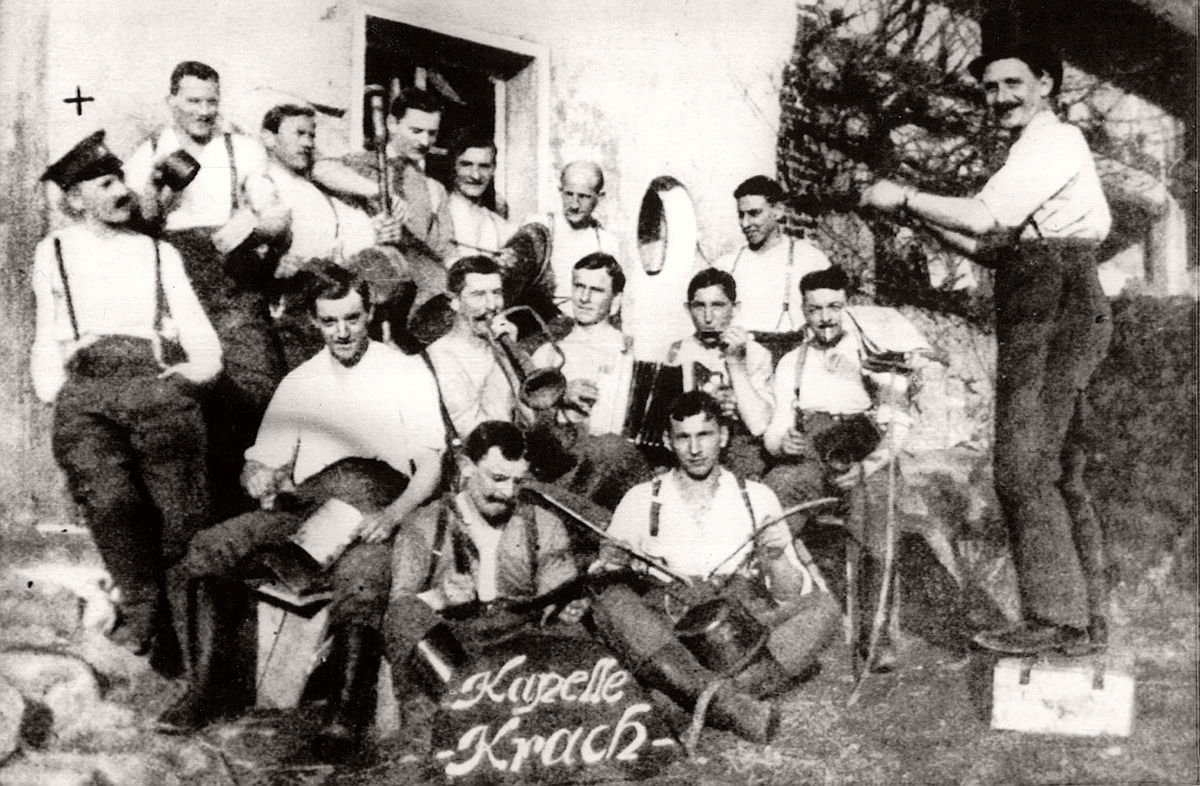 "Undated image, reportedly of Corporal Adolf Hitler of the German Army, standing at left (under the ""+"") with his comrades forming the band ""Kapelle Krach"", during recovery from an injury he received on the western front during World War I. # AP"