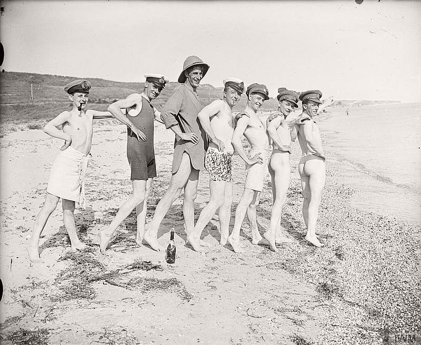 Members of an army entertainment troop posing after a swim in the Sea of Marmora, Turkey.