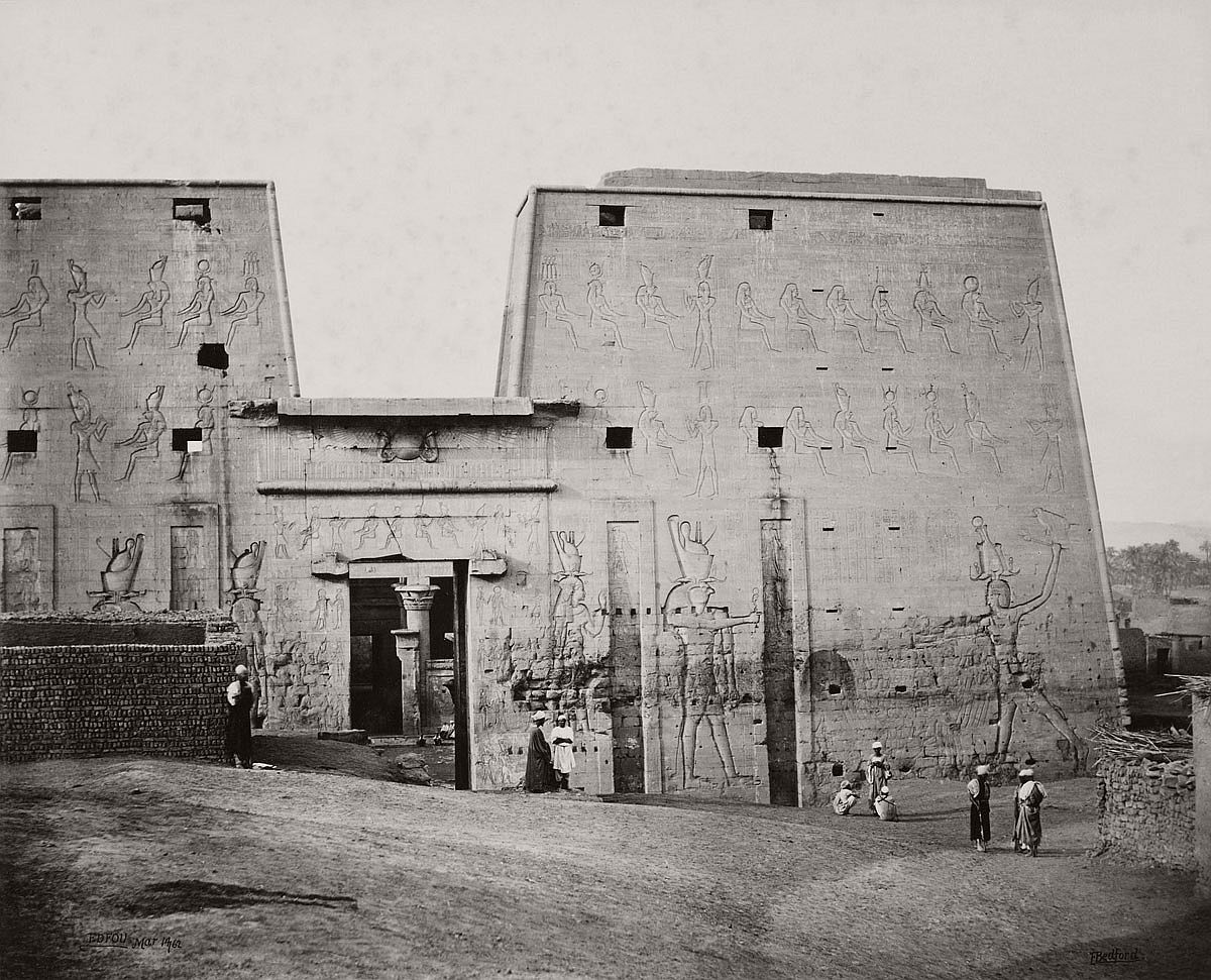 Francis Bedford (1815-94) (photographer) The Great Propylon of the Temple at Edfou [Pylon of the Temple of Horus, Edfu] 14 Mar 1862