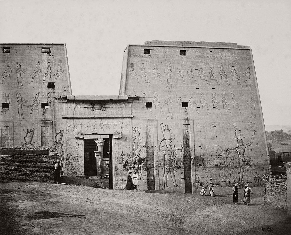Francis Bedford (1815-94) (photographer) The Great Propylon of the Temple at Edfou [Pylon of the Temple of Horus, Edfu] 14 Mar 1862