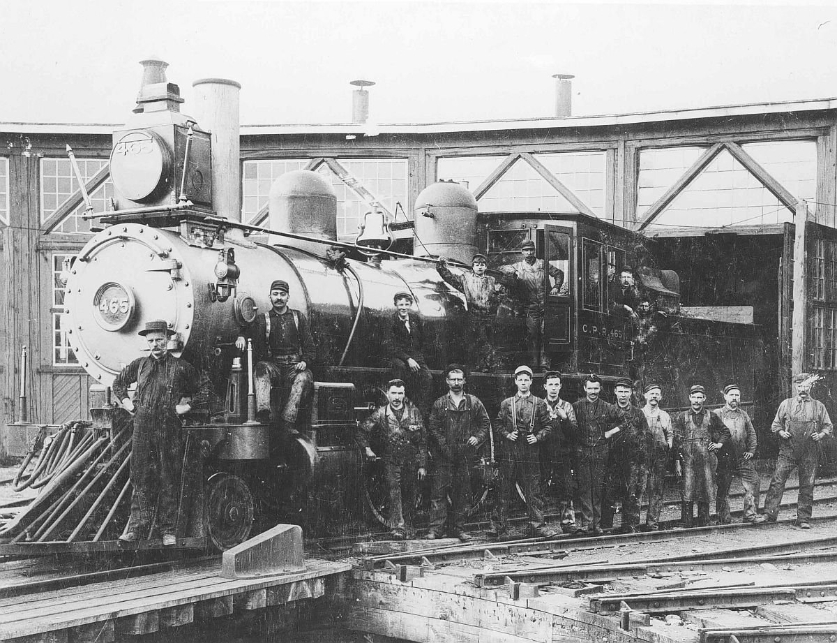 Canadian Pacific Railway engine 465, Alyth roundhouse, Alberta. Date: [ca. 1890s]