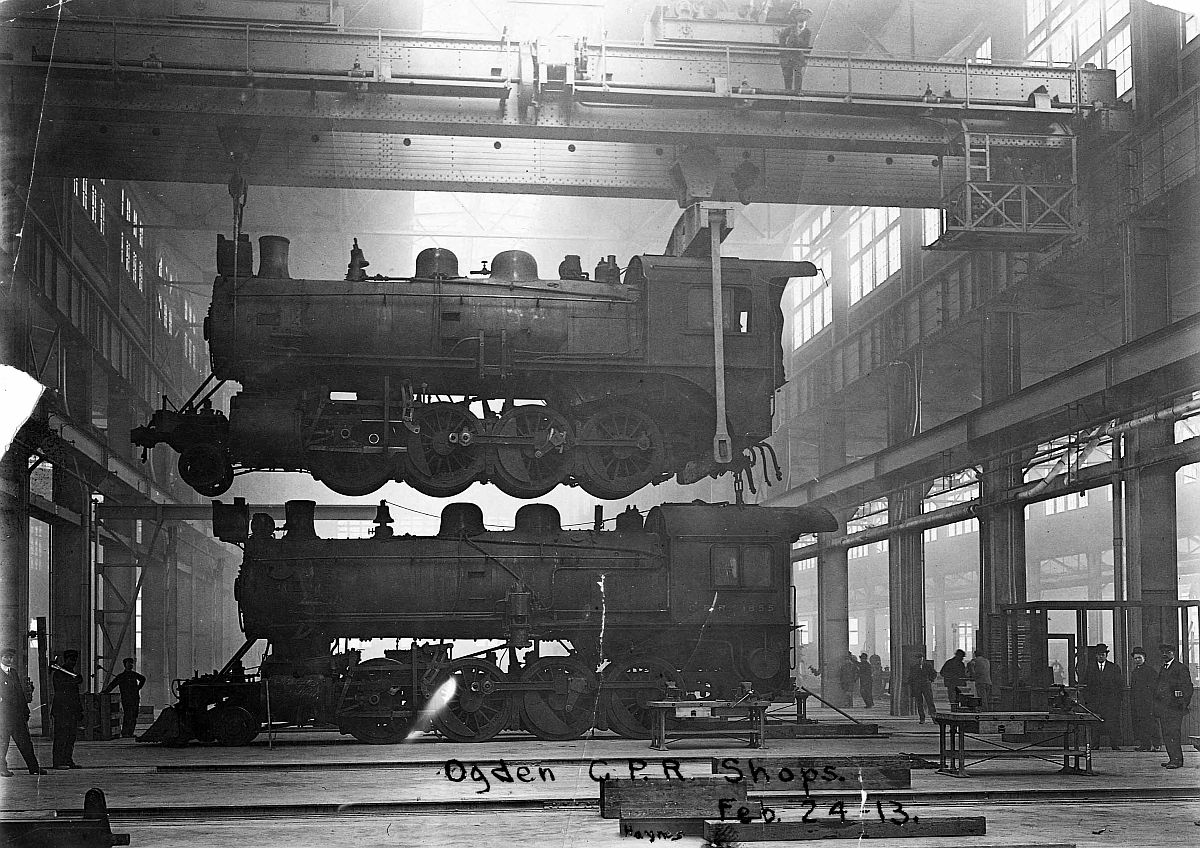 Engines under repair at Ogden shops, Calgary, Alberta. Date: February 24, 1913