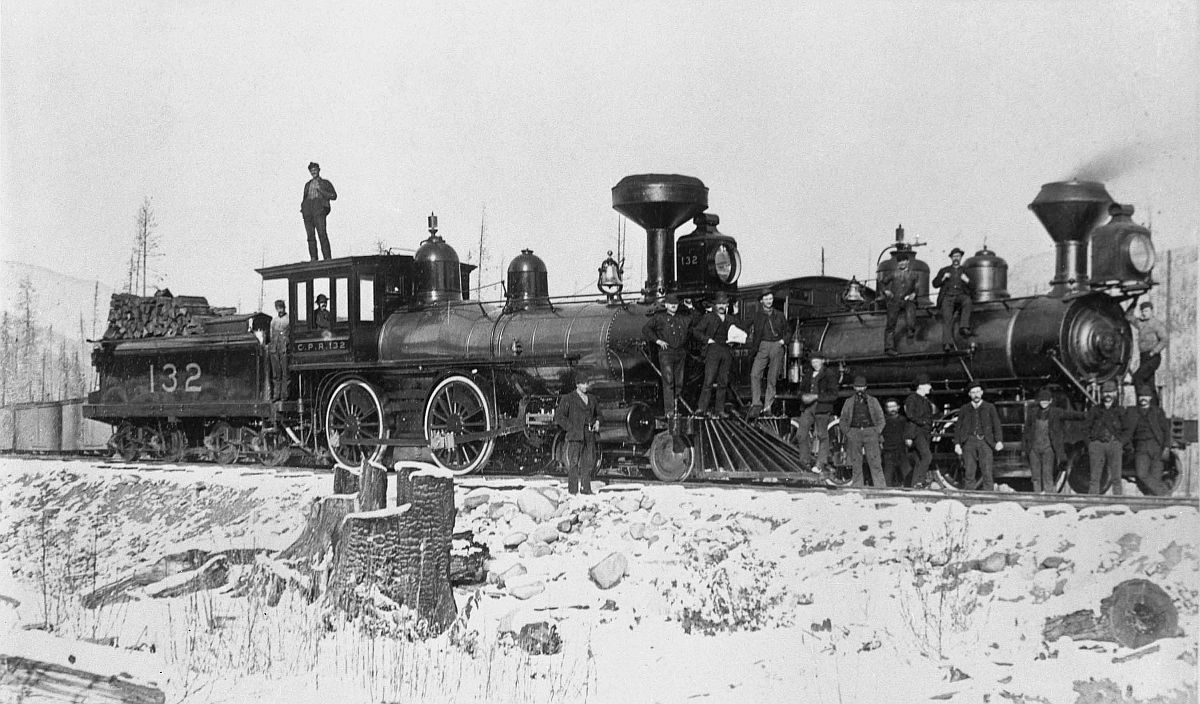 Canadian Pacific Railway engines, second is Engine 132. Date: [ca. 1887-1889]