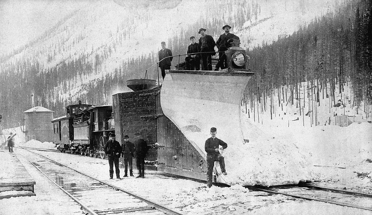 Canadian Pacific Railway snow plough, Rogers Pass, British Columbia. Date: [ca. 1887-1889]