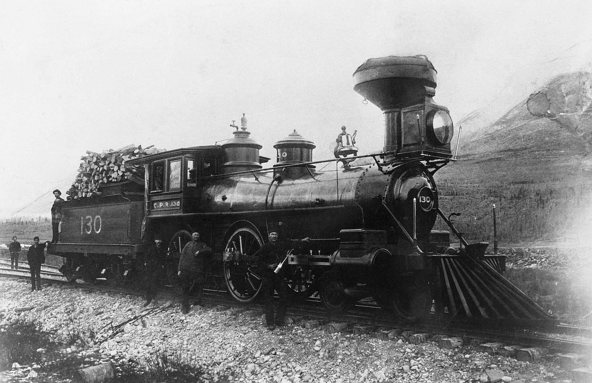Canadian Pacific Railway locomotive in the Rockies. Date: [ca. 1880s]