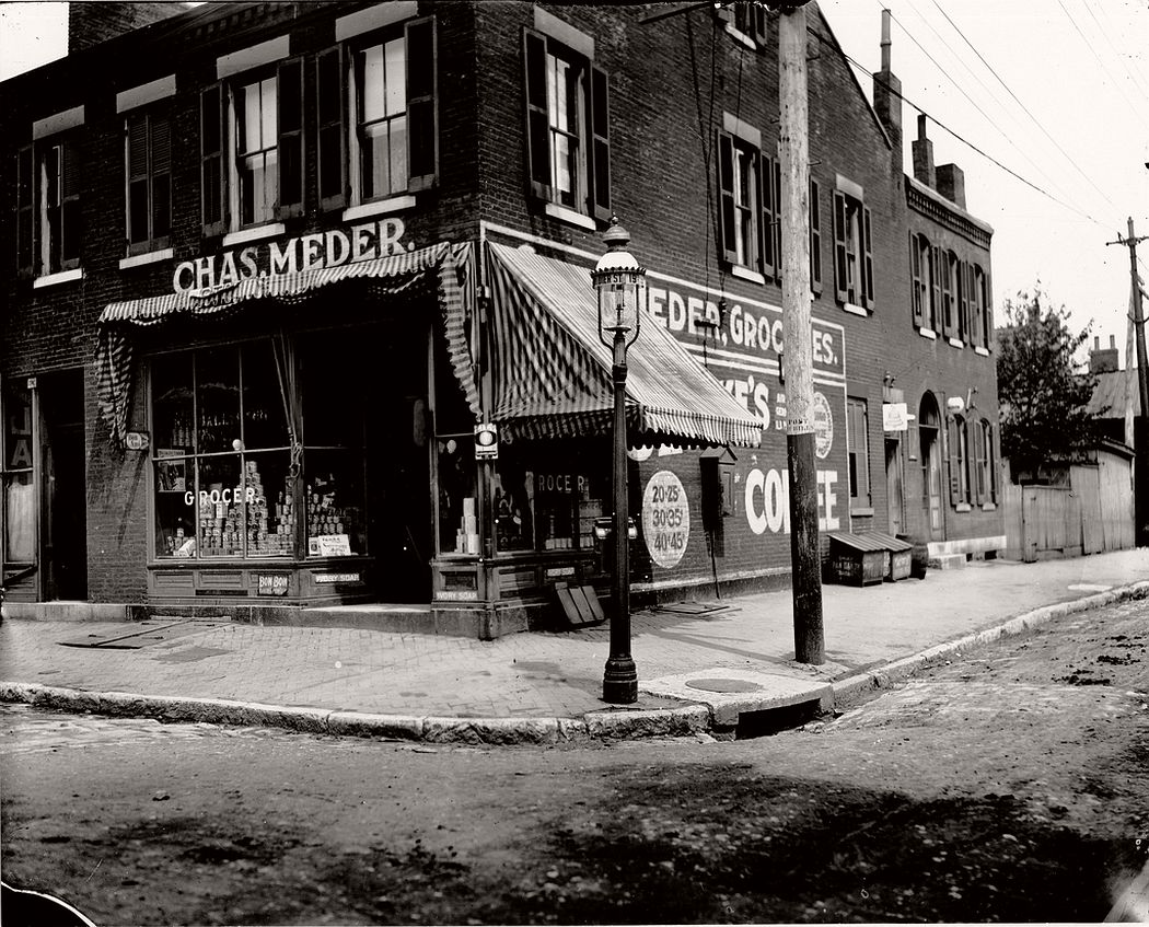Charles Meder Grocery store at the corner of Ninteenth and Dodier Streets, ca. 1900s
