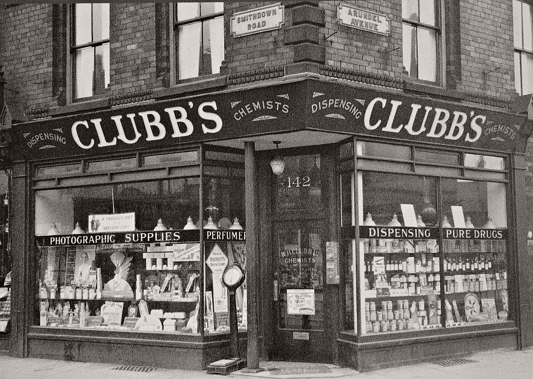 Clubb's Chemists , corner of Smithdown Road and Arundel Avenue, ca. 1920s