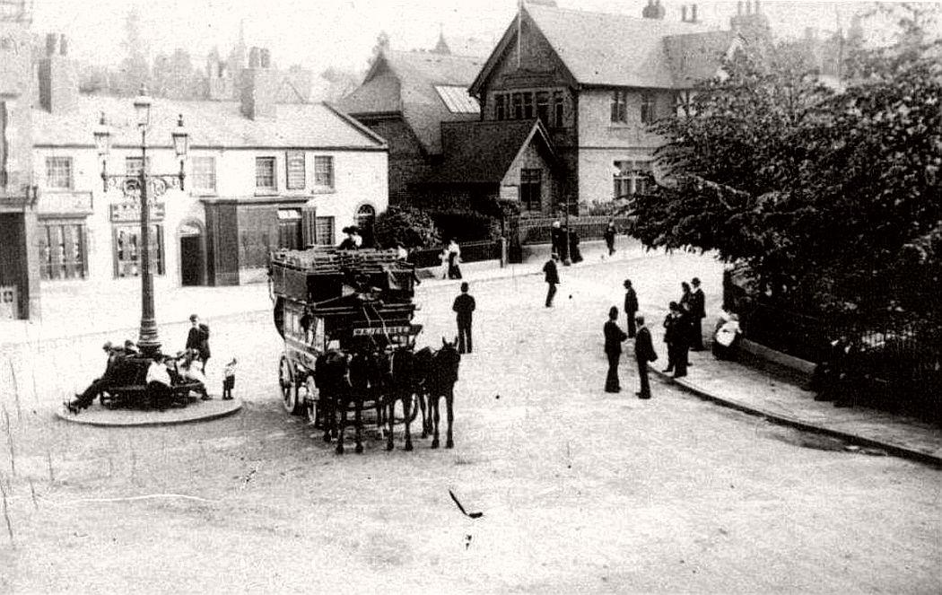 Street scene in Woolton village, Liverpool, 1901
