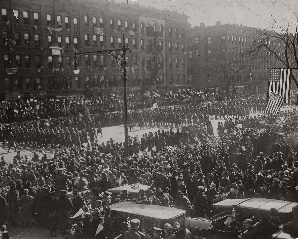 The 369th parades through the streets of Harlem. Feb. 17, 1919. (Library of Congress)