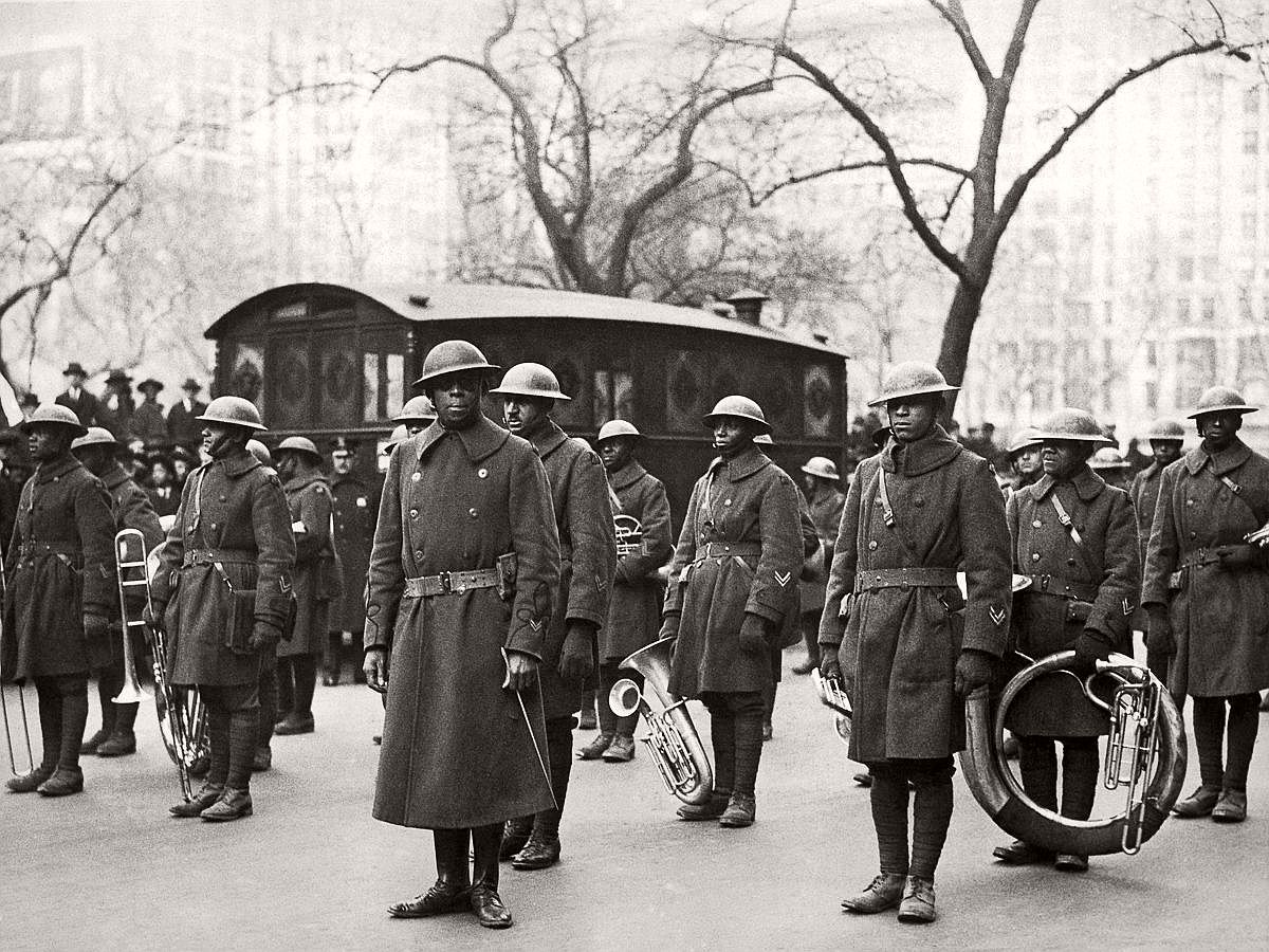 Lt. Reese leads the 369th band in a parade upon their return to New York City. Feb. 17, 1919. (Underwood Archives/Getty Images)