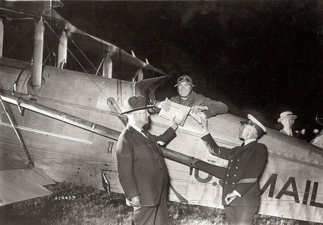 Airmail pilot James Hill ready for transcontinental night flight, July 1, 1925