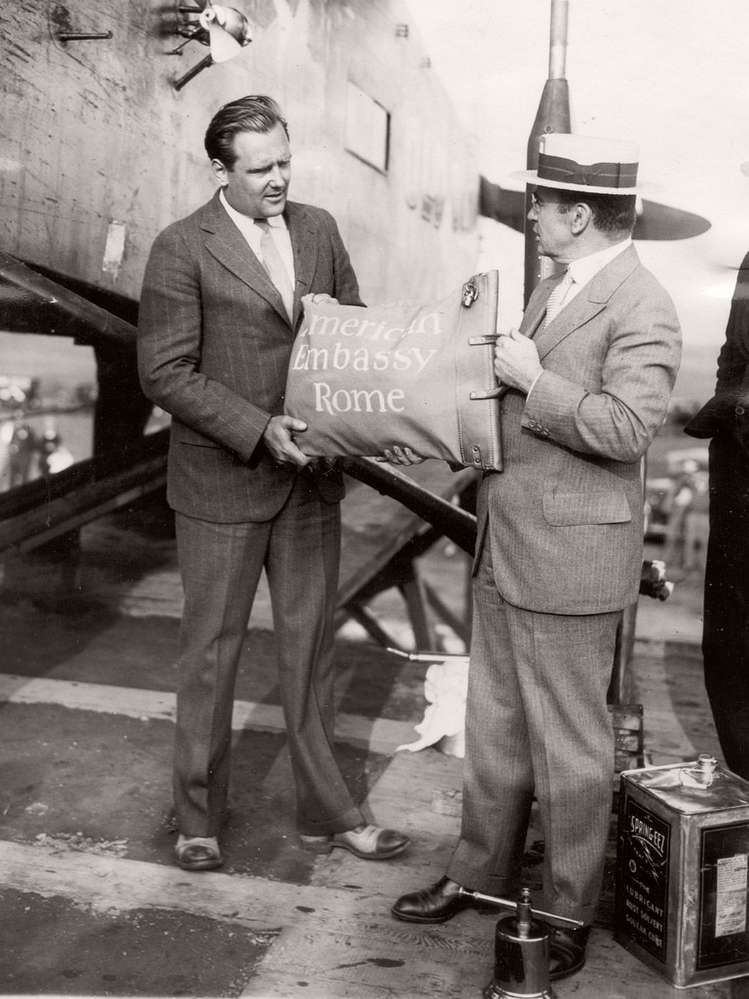 Airmail pilot Lloyd Bertaud and an unidentified individual, September 6, 1927