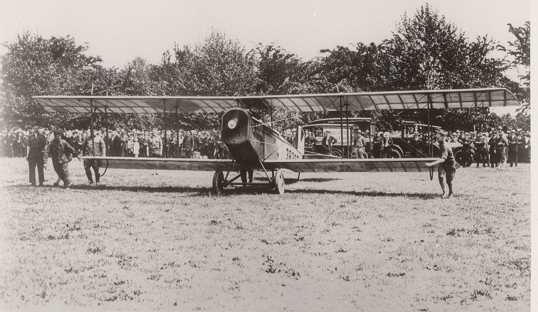Curtis JN-4H airmail plane taking off, 1918