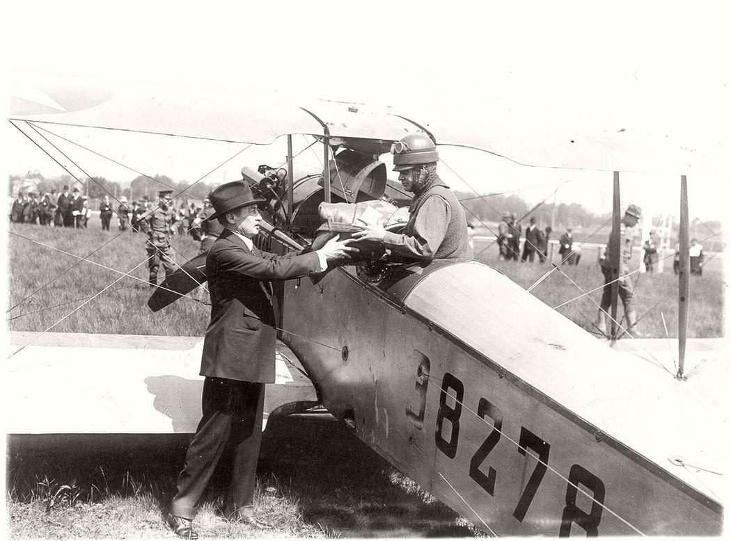 New York City postmaster Thomas G. Patten and airmail pilot Lt. Torrey Webb, 1918