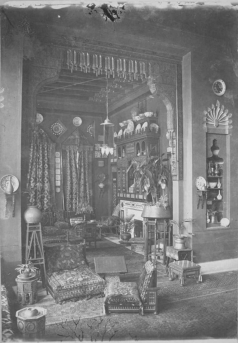 Interior of Egyptian home in Cairo, ca. 1870s