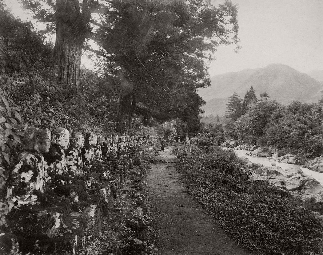 Narabi-jizo statues of Kan-man path near Nikko, ca. 1880