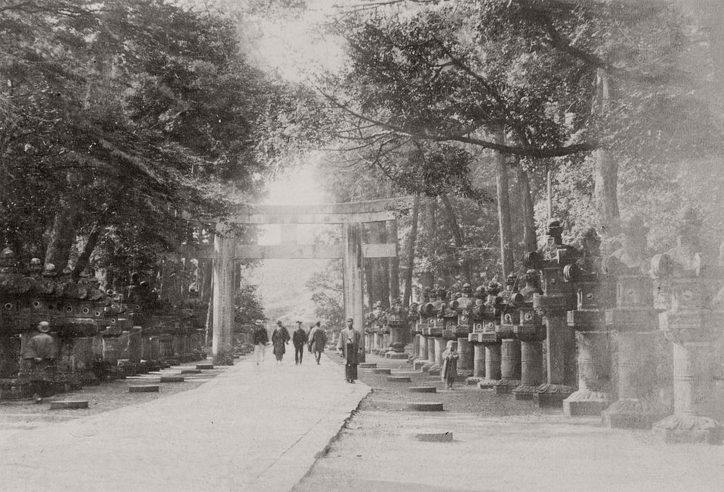 Stone lantern in Kasuga shrine, Nara, ca. 1880