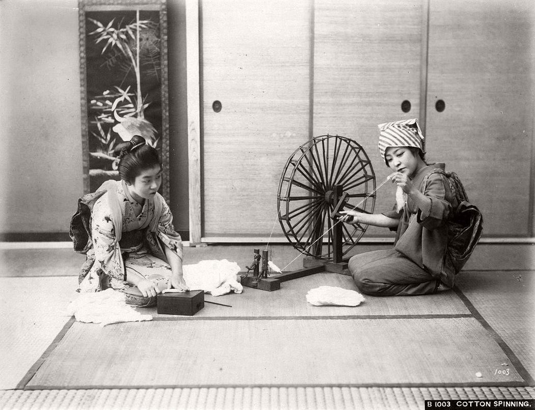 Women spinning cotton, ca. 1870