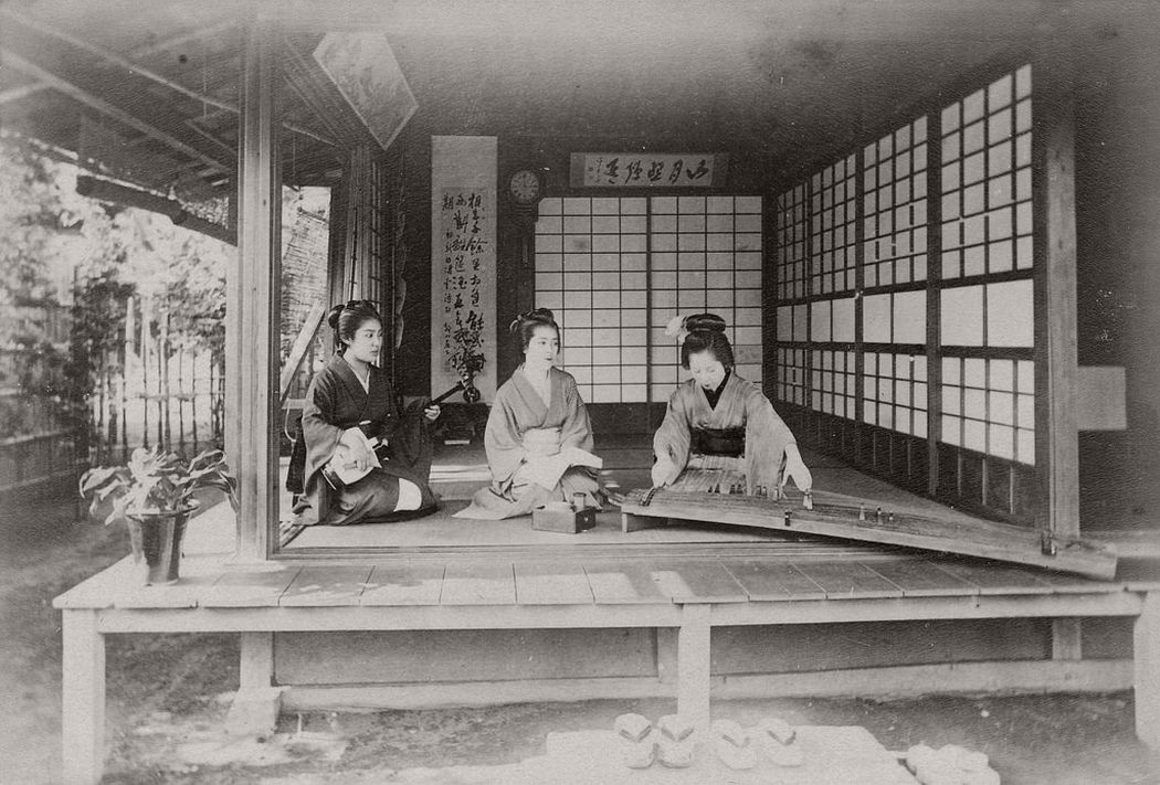 Geishas playing music in a tea house, ca. 1890