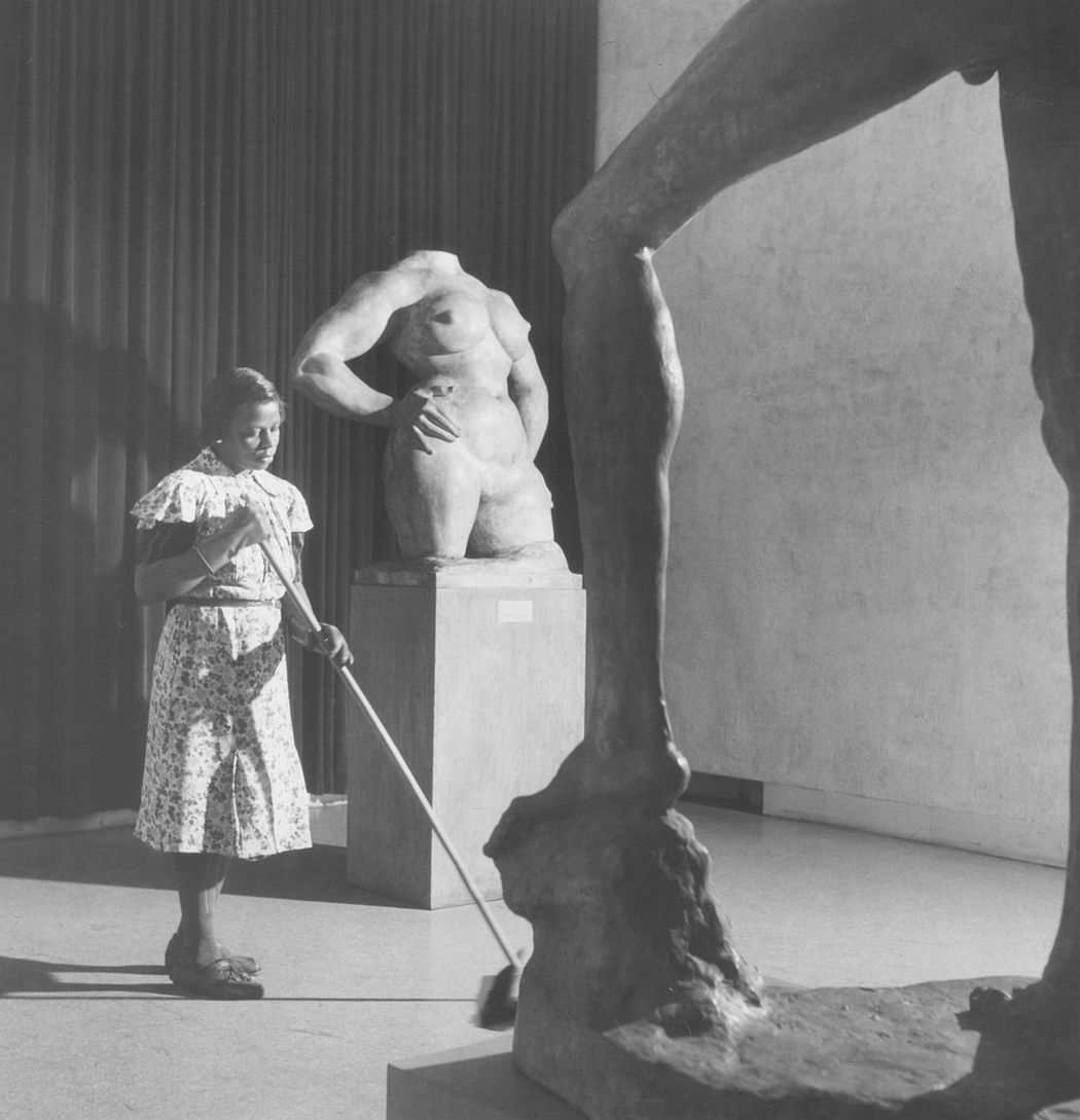 Cleaning Lady in Museum of Modern Art, NYC, 1948