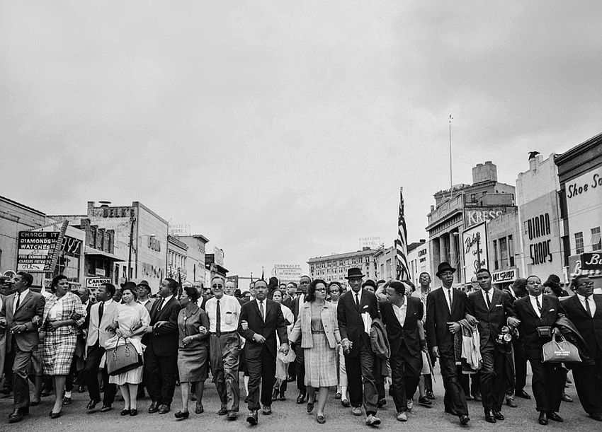Dr. Martin Luther King Jr., His Wife, Coretta, Rosa Parks, and Other Activists March for Voting Rights, 1965