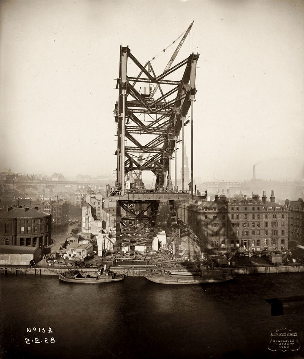View of the Newcastle side of the Tyne Bridge captured during its construction on 2 February 1928