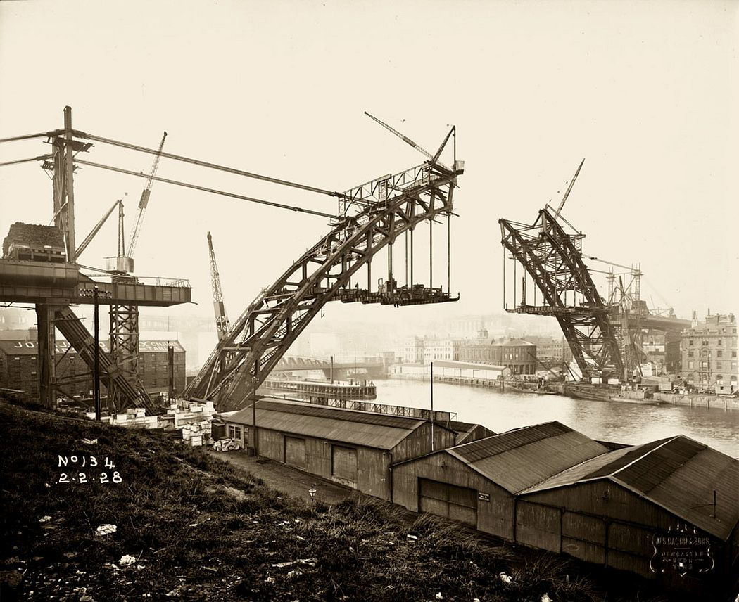 View of the Tyne Bridge from Gateshead, 2 February 1928, showing the two halves getting closer together