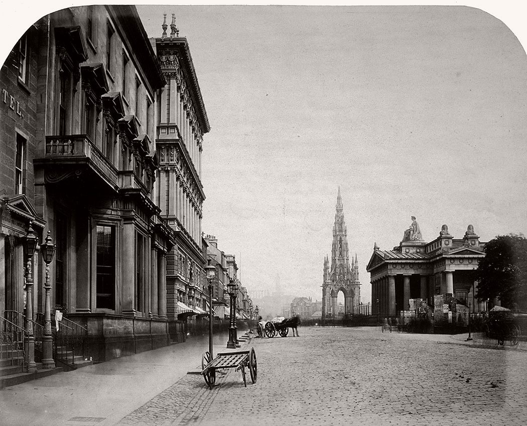 Princes Street, the Scott Monument and the Royal Institution, Edinburgh, 1858