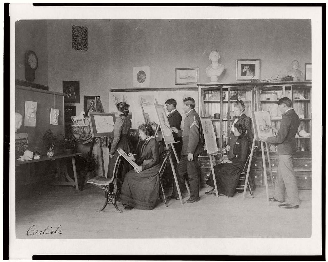 Classroom instruction in art, United States Indian School, Carlisle, Pa., between 1901 and 1903.