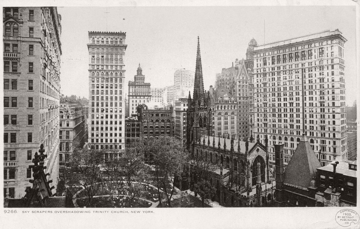 Skyscrapers start to encroach on Trinity Church. Photograph: Detroit Publishing Company Collection from The New York Public Library