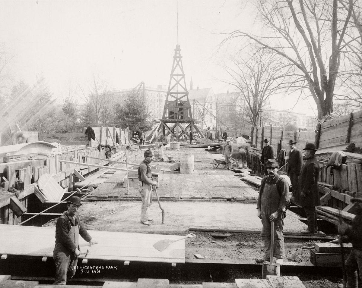 Workers building the Broadway subway line under Central Park, 1901. Photograph: New York Public Library