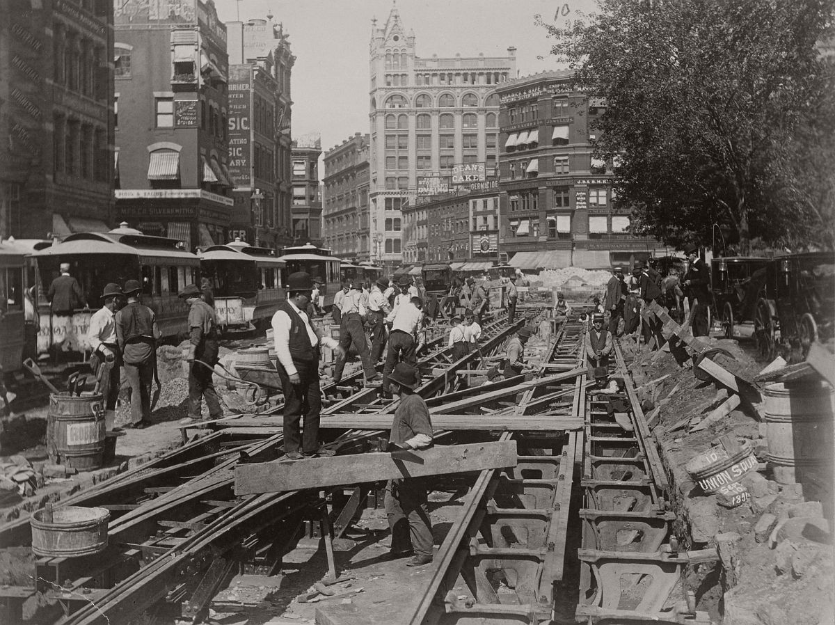 Construction of the cable road on Broadway in 1891. Photograph: New York Public Library