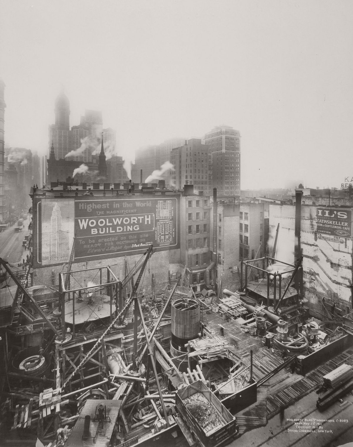 Construction of the Woolworth Building at 233 Broadway in 1911. Photograph: New York Public Library