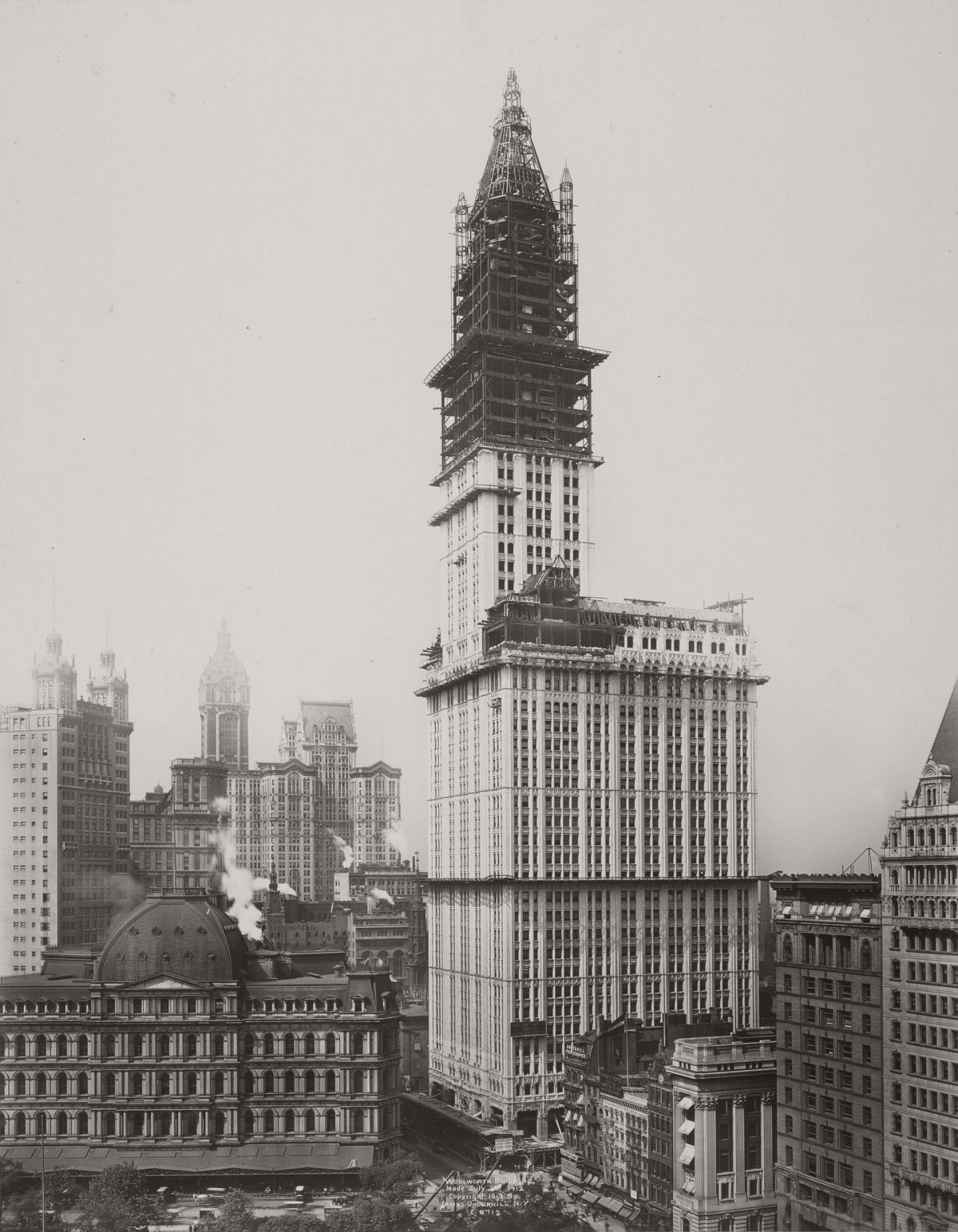 The Woolworth Building nears completion in 1912. Photograph: New York Public Library.