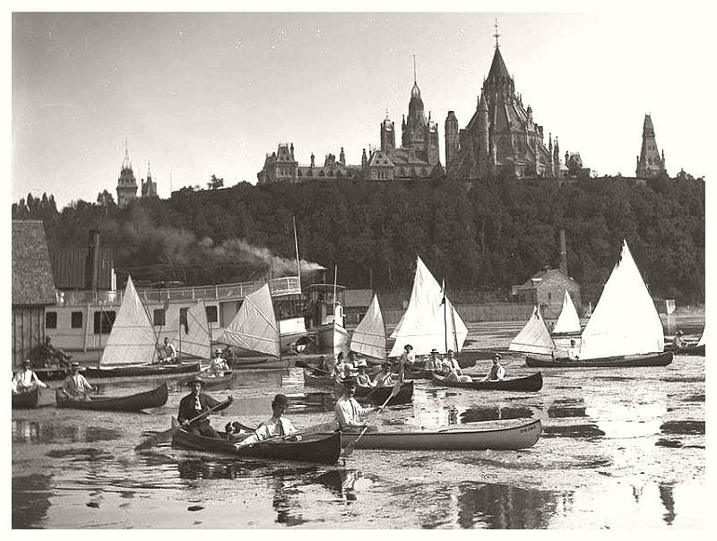 Sailing canoes on the Ottawa River, 1889