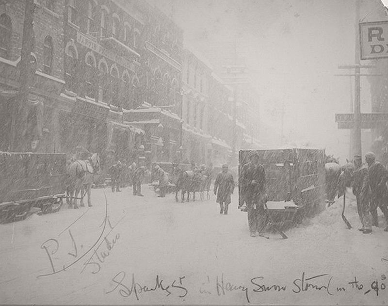 Snowstorm on Sparks St. ca. late 1890s