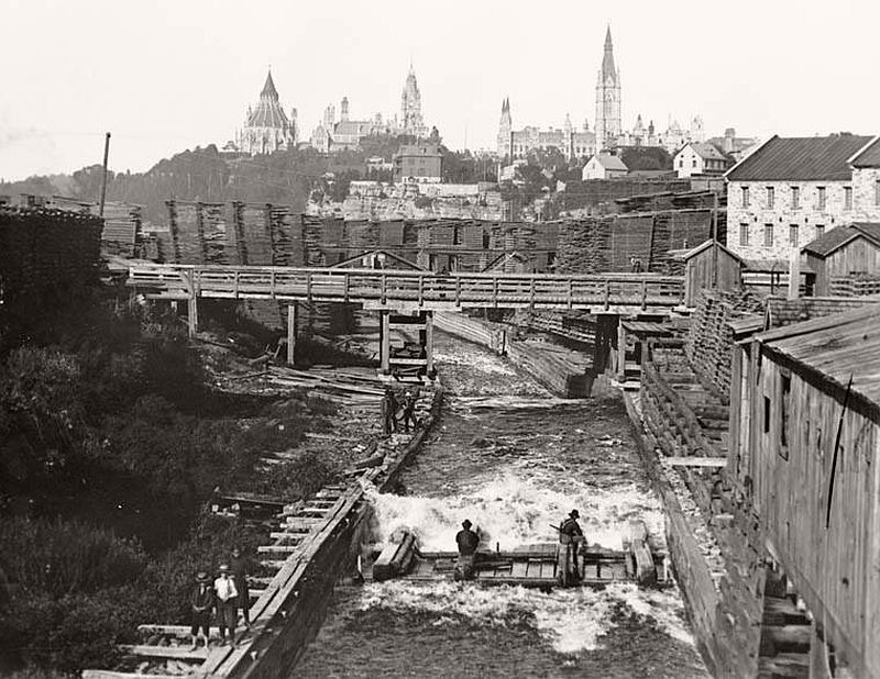 Timber Slide at Chaudiere Falls, 1890