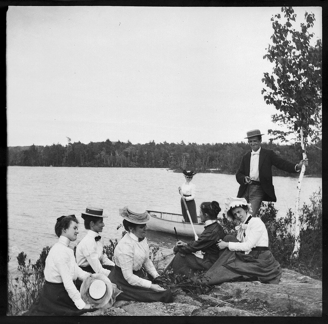 Boating at Lake City on Megunticook Lake in August 1899.