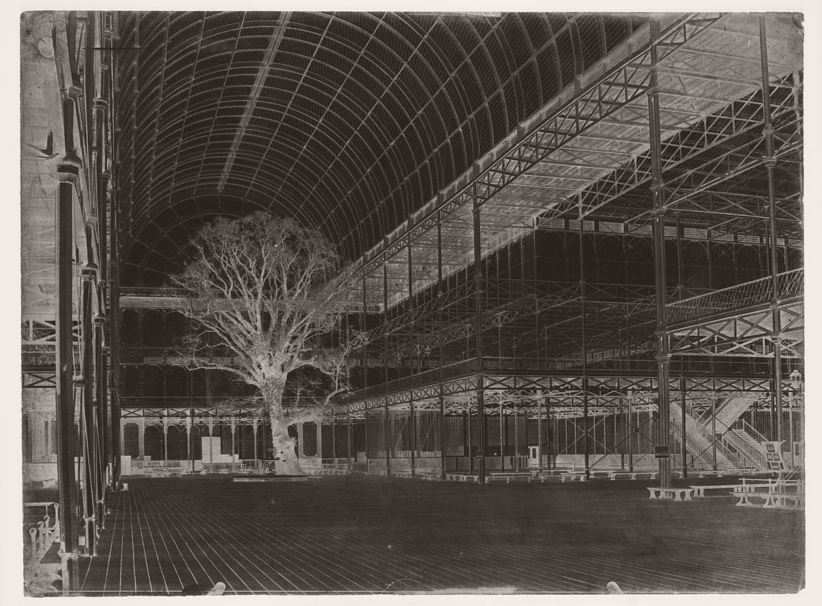 Crystal Palace, Hyde Park, Paper negative, 1852. Photograph by Benjamin Brecknell