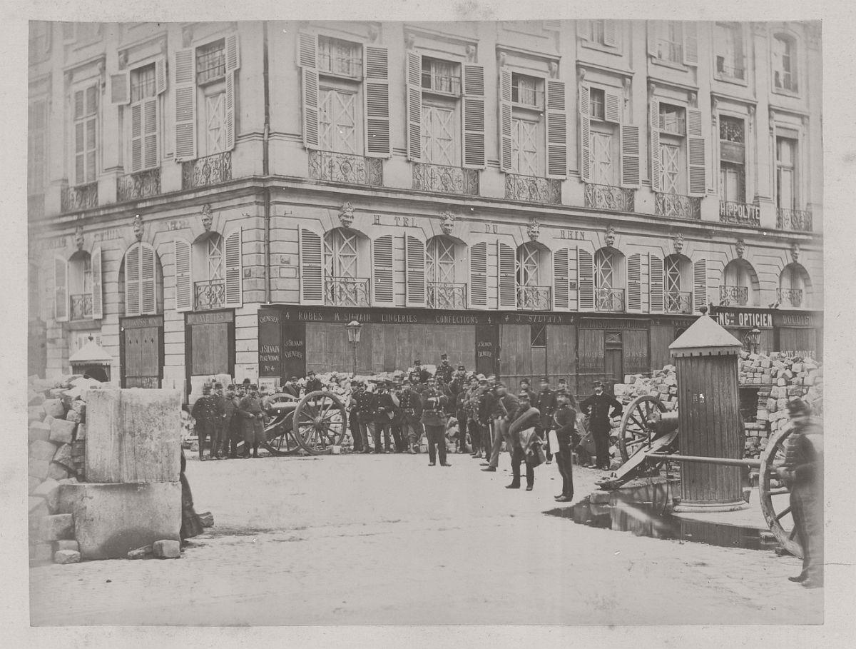Place Vendôme; Barricade in the Rue Castiglione, 1871.