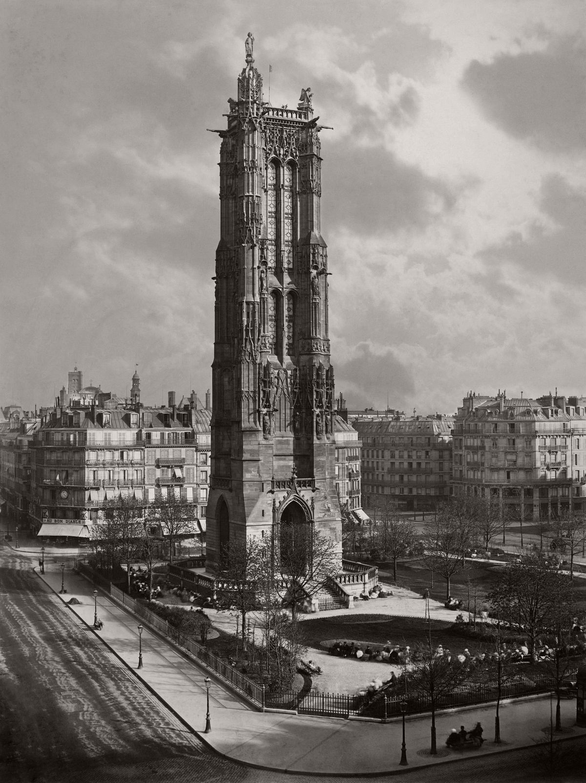 The freestanding Tour Saint-Jacques that one sees today in a park just off the rue de Rivoli in the heart of Paris is all that remains of the Gothic church of Saint-Jacques la Boucherie. 1867.