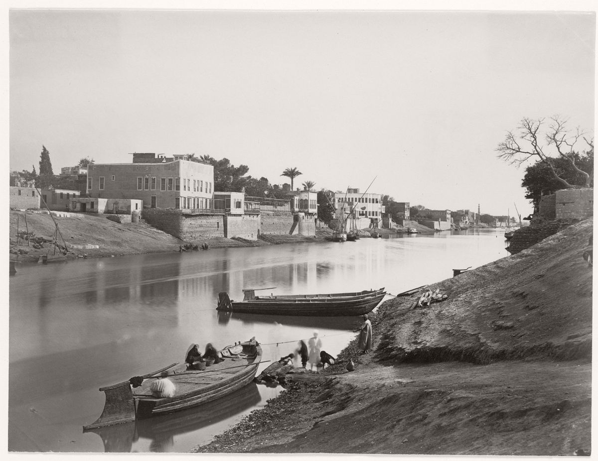 Banks of the Nile at Cairo, 1857.