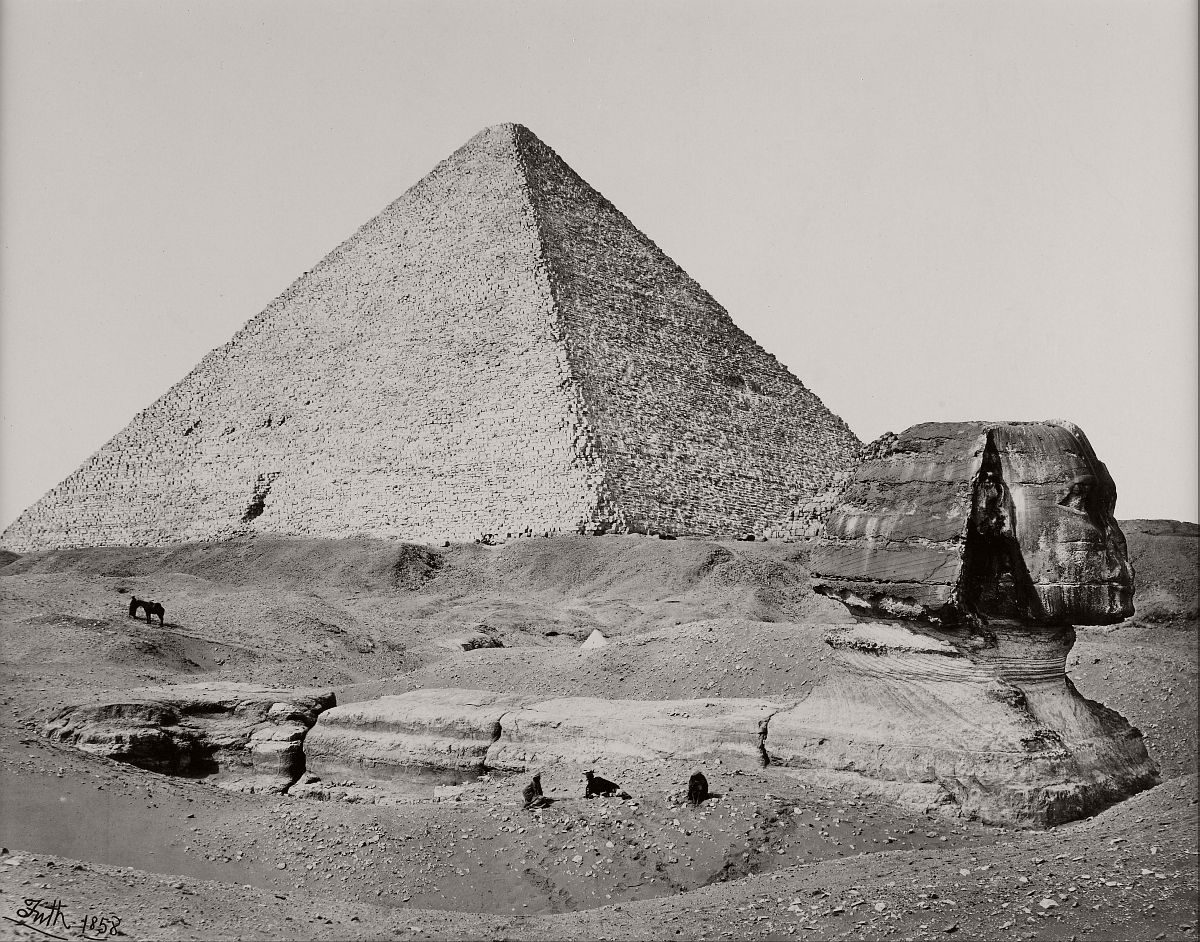 The Great Pyramid and the Great Sphinx, Egypt, 1858.