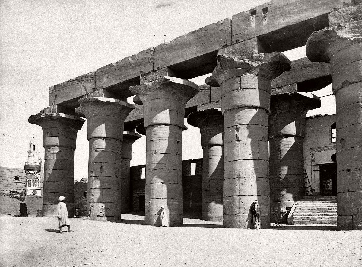Ruins of Luxor Temple at Luxor, circa 1858.