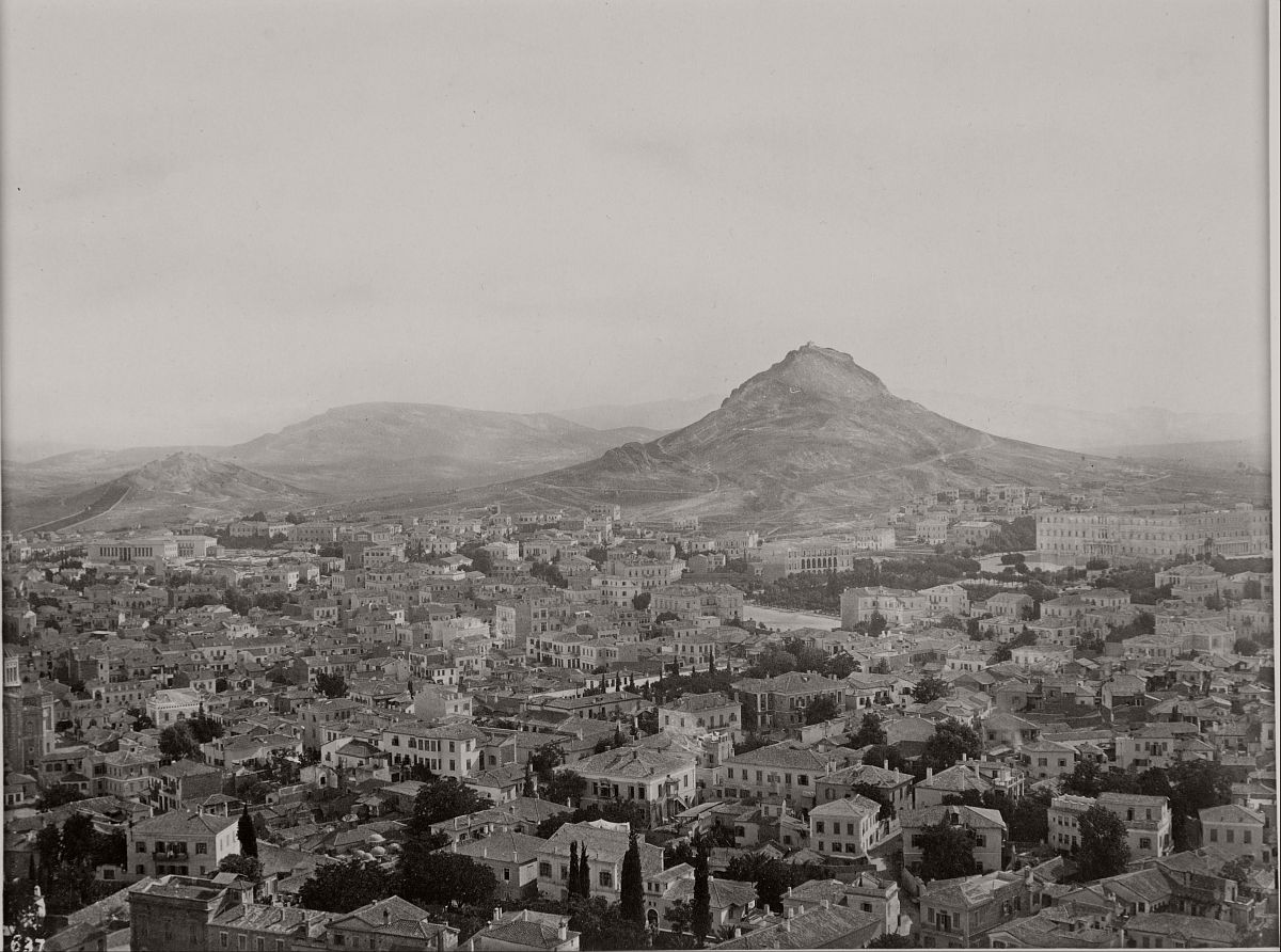 View of Athens from the Acropolis with Lycabettus Hill in the background, 1865.